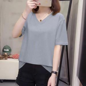 V Neck Solid Color Short Sleeves Summer Top - Gray