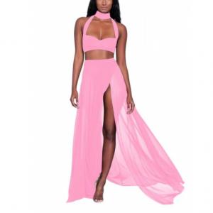 Halter Neck Solid Color Two Pieces Lingerie Set - Pink