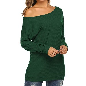 Off Shoulder Ribbed Loose Top - Green