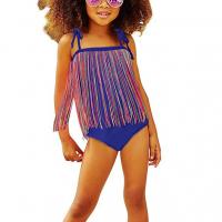 Tassel Decorative Swimwear Girls Bodysuit - Blue