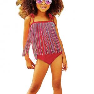 Tassel Decorative Swimwear Girls Bodysuit - Red