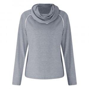 Shawl Neck Mesh Pattern Full Sleeves Top - Gray