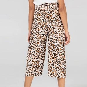 Animal Printed Elastic Waist Straight Style Trouser - Yellow