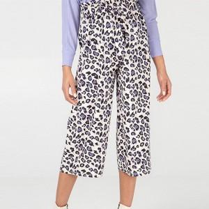 Animal Print Elastic Waist Straight Style Trouser - Purple