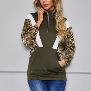 Leopard Printed Contrast Sleeves Blouse Top - Green