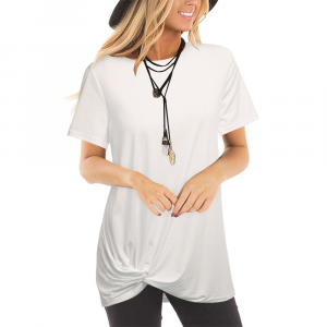 Boat Neck Contrast Short Sleeves Summer Top - White