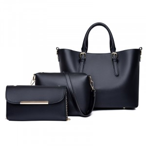 Solid Color Three Pieces Synthetic Leather Handbags Set - Black