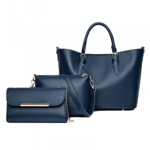 Solid Color Three Pieces Synthetic Leather Handbags Set - Blue