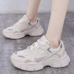 Thick Sole Canvas Women Fashion Sports Wear Sneakers - Beige