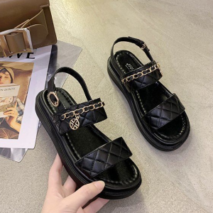 Chain Patched Patchwork Buckle Closure Sandals - Black