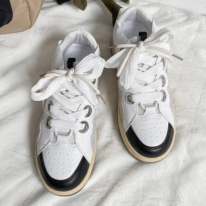 Lace Closure Synthetic Leather Sports Wear Sneakers - White