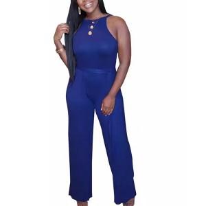 Halter Neck Solid Color Fitted Full Dress - Blue