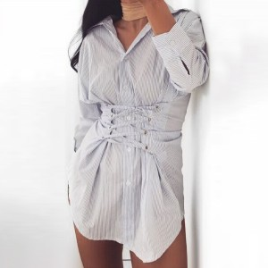 Shirt Collar Strings Patched Button Up Mini Dress-GRAY