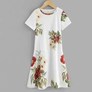 Floral Printed Round Neck Mini Dress - White