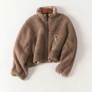 Solid Color Mini Style Outwear Jacket - Brown
