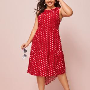 Polka Dots Print Sleeveless Irregular Dress - Red