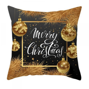Modern Decorative Cushion Cover Black with Christmas Design