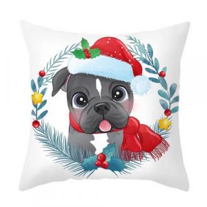 1 Piece Modern Cute Dog with Santa Hat Design Decorative Cushion Cover