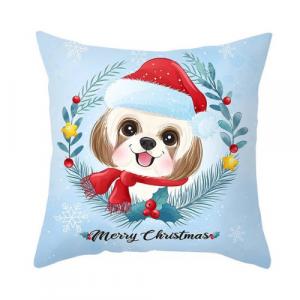 1 Piece Modern Cute Puppy with Santa Hat Design Decorative Cushion Cover