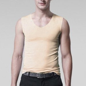 Sleeveless Body Fitted Solid Color Summer Wear Men Sando Top - Skin