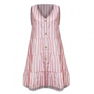 V Neck Button Patched A-Line Sleeveless Mini Dress
