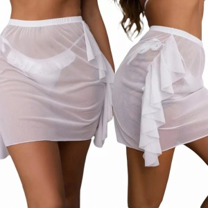 Thin Fabric Women Beach Wear Hip Scarf - White