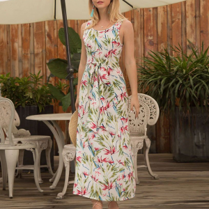 Sleeveless Floral Printed Beach Maxi Dress - Multi Color