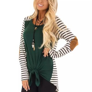 Knot Style Printed Contrast Full Sleeves Summer Blouse Top - Green