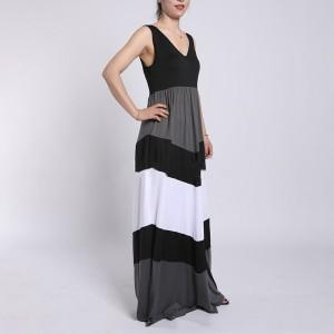 V Neck Contrast Sleeveless Maxi Dress - Gray