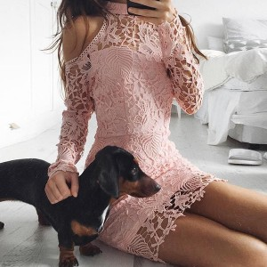 Lace Halter Neck Textured Full Sleeves Mini Dress - Pink