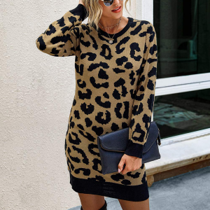 Leopard Printed Round Neck Full Sleeves Long Top - Leopard Yellow