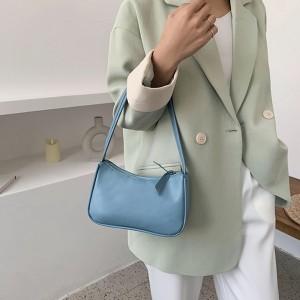 Solid Color Zipper Closure Women Handbag - Blue