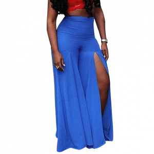 Split Hem Beach Style Maxi Length Skirt - Blue