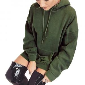 String Closure Hoodie Neck Full Sleeve Hoodie Top - Green