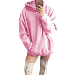 String Closure Hoodie Neck Full Sleeve Hoodie Top - Pink