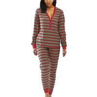 V Neck Stripes Print Sleepwear Pajama Suit - Green
