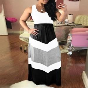 Sleeveless Geometric Print Maxi Dress - Multicolor
