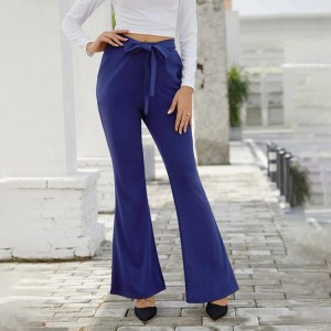 String Waist Solid Color Bell Bottom Trouser Pants - Blue