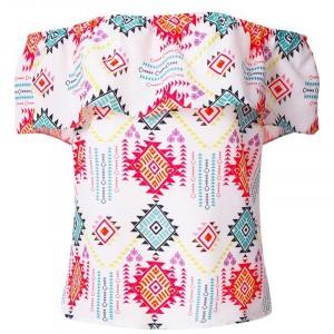 Off Shoulder Printed Women Summer Fashion Blouse Top - Multicolor