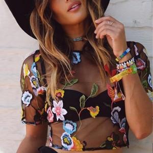 Thread Art Thin Fabric Outwear Polyester Party Beach Wear Top