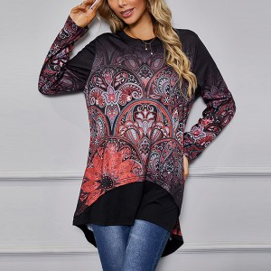 Boho Graphic Printed Floral Full Sleeves Summer Blouse Top