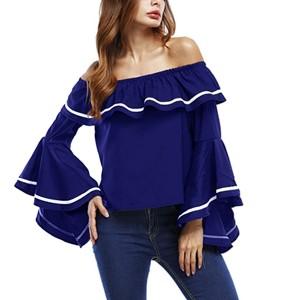 Flared Sleeve Contrast Summer Fashion Women Top - Blue