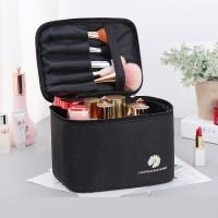 Zipper Closure Portable Travel Cosmetics Bag - Black