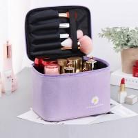 Zipper Closure Portable Travel Cosmetics Bag - Purple