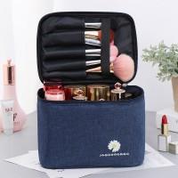Zipper Closure Portable Travel Cosmetics Bag - Dark Blue