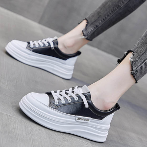 Trendy Lace Thick Soft Sole Casual Wear Sneaker - Black