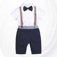 Three Pieces Shirt With Shorts And Suspender Belt For Boys -White