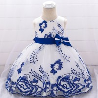 Kids Embroidered Evening Party Dress - Blue