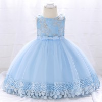 Kids Wear Floral Printed Party Dress - Blue