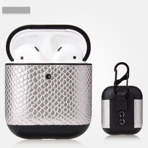 Bluetooth Wireless Airpods Snake Leather Case - Silver